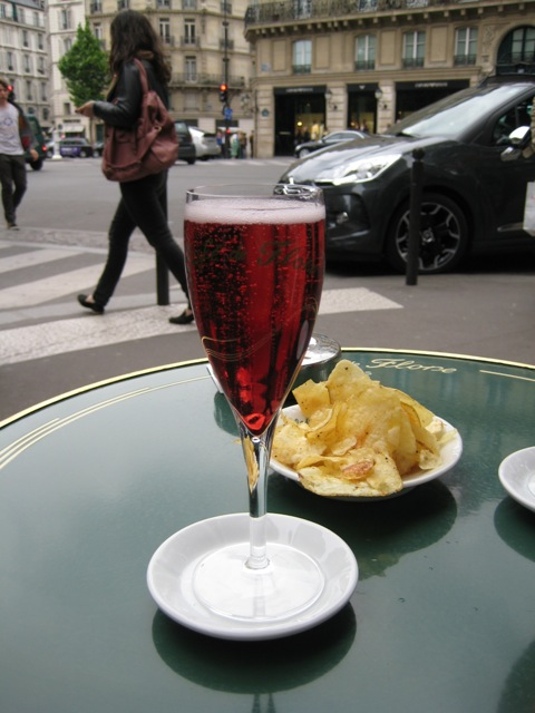 Kir royale at the Cafe de Flore.